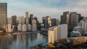 MIAMI - MARS 31, 2018: Brickell tangent och i stadens centrum Miami antenn V Royaltyfria Foton