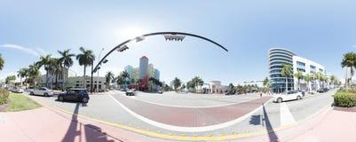 Miami Beach 360 sfärisk panorama Arkivbilder