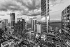 MIAMI, MARZEC - 27, 2018: Miast światła śródmieście, widok z lotu ptaka MI Fotografia Stock