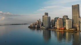 MIAMI - 31 MARZO 2018: Chiave di Brickell e Miami del centro v aerea Fotografie Stock