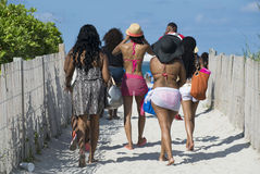People Walking to the Beach In Miami Stock Photos
