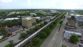 Miami Metrorail tram in motion stock video footage