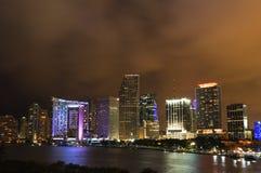 Miami na noite, Florida Fotos de Stock Royalty Free