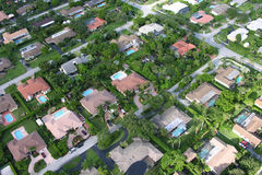 Miami Neighborhood. Aerial overview of tropical homes in a suburban Maimi neighborhood Royalty Free Stock Photos