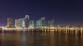 Miami at Night. Miami skyline and the Venetian Causeway at night, seen from Watson Island Stock Photo