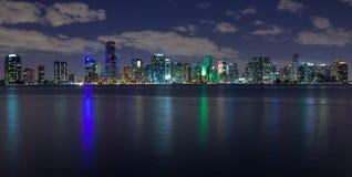 Miami at Night. Miami skyline at night, seen from Virginia Key Stock Photography