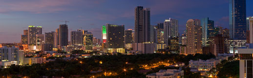 Miami Night Panorama Royalty Free Stock Photos