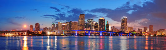 Miami night scene Royalty Free Stock Image