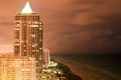 Miami Night Skyline Stock Photos