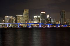 Miami Night Skyline Royalty Free Stock Images