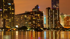 Miami night skyline stock footage