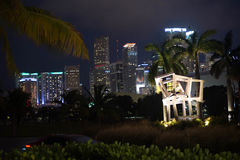 Miami night. View through palms and lighted monument in park at Perez art museum Royalty Free Stock Image