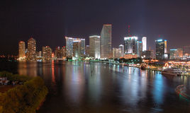 Miami Nights. Miami Night Skyline Stock Photos