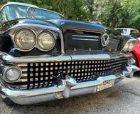 MIAMI OUTUBRO - 2018: Reunião do motor de carros velhos fotos de stock royalty free