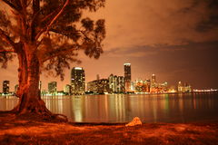 Miami på natten arkivfoto