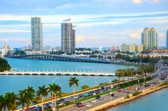 Miami panorama with car traffic. Aerial view Miami cityscape. Miami skyline. Miami city scape in day time, Florida USA stock images