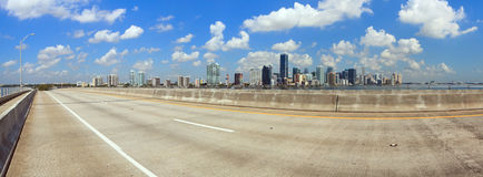 Miami Panorama from Rickenbacker Bridge Royalty Free Stock Images