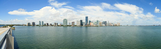 Miami Panorama from Rickenbacker Bridge Stock Photos