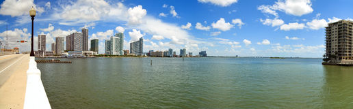Miami Panoramic Skyline from Venetian Causeway Stock Image