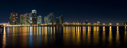 Miami Panoramic Skyline with Venetian Causeway Stock Images