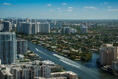 Miami pejzaż miejski od widok z lotu ptaka Zdjęcie Stock