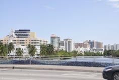 Miami plaża FL, Sierpień 09th: Art Deco budynki od W centrum Miami plaży w Floryda Zdjęcie Stock