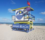 Miami plaży ratownika chałupa, południe plaża zdjęcia royalty free