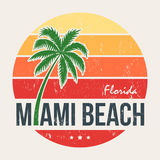 Miami plaży Floryda trójnika druk z drzewkiem palmowym Fotografia Stock
