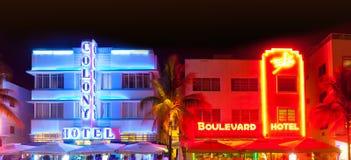 Miami plaża przy nocą Zdjęcia Royalty Free