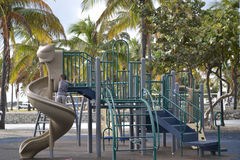 Miami playground. Little boy playing on the playground in Lummus Park South Beach, Florida Stock Photo
