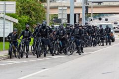 Miami Police Department Bicycle Unite on peaceful protest against the death George Floyd