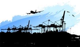 Miami port. Miami cargo container freight transportation Royalty Free Stock Photo