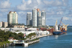 Miami Port and Miami Beach Stock Photos