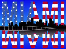 Miami reflected with flag Royalty Free Stock Photo