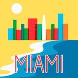 Miami resume el ejemplo colorido plano del vector del rascacielos de la ciudad del horizonte Fotos de archivo libres de regalías