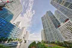 Miami River between Brickell and Miami royalty free stock photo