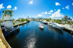 Miami River Cityscape Royalty Free Stock Image