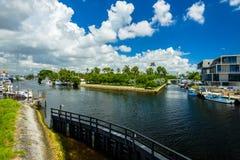 Miami River Cityscape Stock Images
