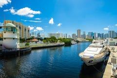 Miami River Cityscape Royalty Free Stock Photos