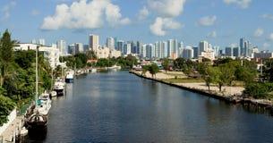 Miami River Skyline Stock Photos