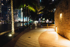 The Miami River Waterfront at night, in downtown Miami, Florida. Royalty Free Stock Photography