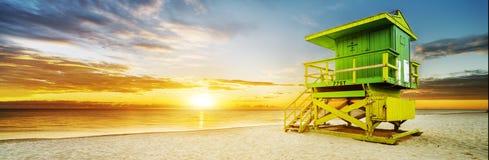 Miami södra strandsoluppgång Arkivbild