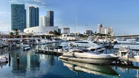 Miami`s Bayside. Luxurious yacht at Bayside, Miami Stock Image