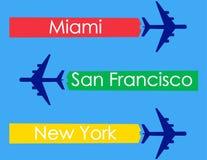 Miami, San Francisco, New York, avion, affiche, bannière, insecte, carte postale, typographie illustration stock