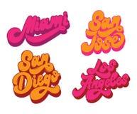 Miami San Jose San Diego Los Ángeles Letras manuscritas del vector ilustración del vector