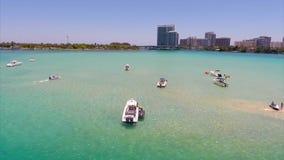 Miami sandbar at Haulover aerial video stock video