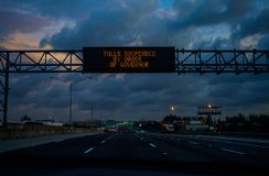 Miami before Hurricane Irene. MIAMI - 08 SEPT 2017 - Miami prepares to receive the impact of Hurricane Irma over South Florida. The tolls has been suspended by royalty free stock photography