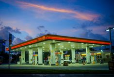 Miami before Hurricane Irene. MIAMI - 08 SEPT 2017 - Miami prepares to receive the impact of Hurricane Irma over South Florida. Most of gas station are depleted royalty free stock photo