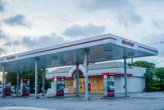 Miami before Hurricane Irene. MIAMI - 08 SEPT 2017 - Miami prepares to receive the impact of Hurricane Irma over South Florida. People hoards gasoline, fresh royalty free stock photography