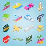 Miami set icons, isometric 3d style Royalty Free Stock Photo